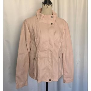 RD Style Faux Leather Moto Jacket Pink Size XL